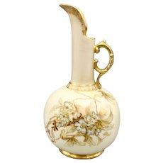 Late 1800s Robert Hanke Porcelain Gilded Ewer Pitcher Vase Hand Painted