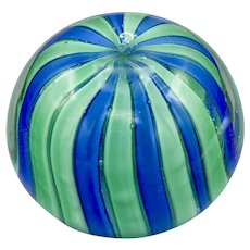 Vintage 1960s Murano Glass Paperweight Blue and Green Stripes