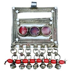 Yemenite Large Silver Badihi Pendant with Red Cabochons and Beads