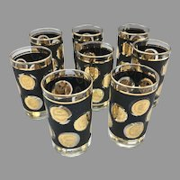 """Mid Century Set of 8 Libbey Gold Coin Collection 5"""" Beverage Cocktail Glasses"""