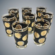 "Mid Century Set of 8 Libbey Gold Coin Collection 5"" Beverage Cocktail Glasses"