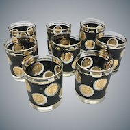 "Mid Century Set of 8 Libbey Gold Coin Collection 3.5"" Rocks Cocktail Glasses"