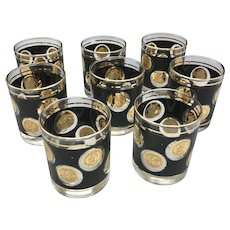"""Mid Century Set of 8 Libbey Gold Coin Collection 3.5"""" Rocks Cocktail Glasses"""