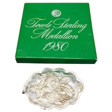 Sterling Silver Towle Medallion Christmas Ornament 10 Lords A Leaping 1980