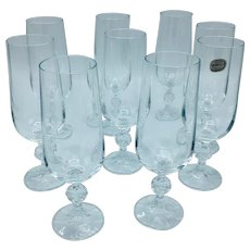 Set of 9 Bohemia Crystal Champagne Flutes Glasses with Ball Stems