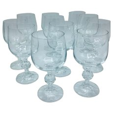 Set of 11 Bohemia Crystal Wine Water Glasses with Ball Stems