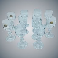 Set of 11 Bohemia Transparent Crystal Cognac Liquor Cordials Glasses with Ball Stems