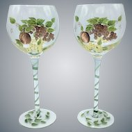 Pair of Hand Painted Wine Glasses Cordials