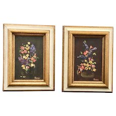 Two Miniature Oil Paintings Still Life Signed Framed
