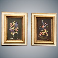Pair of Miniature Oil on Canvas Paintings Still Life Florals Signed Framed