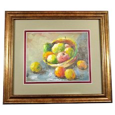 Oil on Canvas German Painting Still Life Fruits Framed Circa 1970s