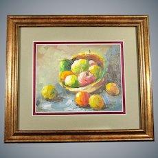 Oil on Canvas German Painting Still Life Fruits Framed Circa 1970s