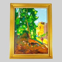 Original Moheb Sadiq Oil on Canvas Painting of Afghani Street Impressionism Signed and Dated