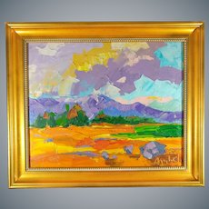 Original Moheb Sadiq Oil on Canvas Painting of Afghani Landscape Impressionism Signed and Dated