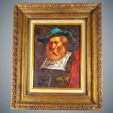 Portrait of a Man in Colonial Spanish Dress Oil on Canvas Impressionist Painting