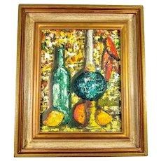 Still Life Painting Oil on Batik Framed circa 1950