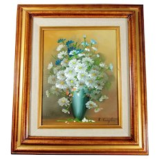 Oil on Canvas Painting Still Life Daisies Blue Vase by R. Campton 1970s