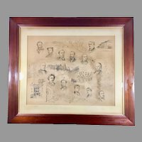 Circa 1886 Portrait Drawing by Paul E. Harney Signed Antique Frame