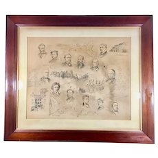 Circa 1886 Portrait Drawing by Paul E. Harney Signed Framed