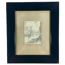 Edmund Hort New (1871-1931) Original Miniature Drawing of Oxford Street Signed Dated 1912 Personalized