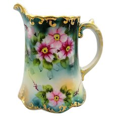 "Hand Painted Florals 6"" Pitcher Coffee Chocolate Pot Gilded Porcelain"