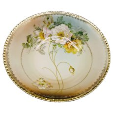 Antique Bavaria Hand Painted Floral Serving Bowl