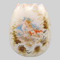 Late 19th Century Satin or Milk Glass Bohemian Vase Egg Shaped Enamel Embellished