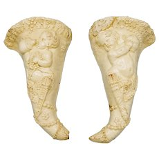 18th Century Pair of Creamware Ceramic Cornucopia Wall Pockets