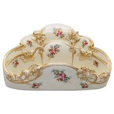 Davis Collamore & Co Lenox Porcelain Letter Holder Hand Painted Gilded