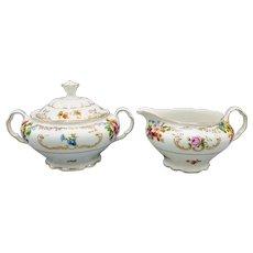 Czechoslovakia Victoria Porcelain Creamer and Sugar Bowl Set Circa 1930s
