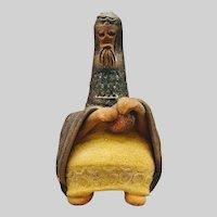 Mid Century Clay Sculpture of a Sitting Man by David Kalderon Israeli Artist