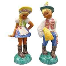 Vintage Pair of Italian Glazed Ceramic Boy and Girl Sculptures Majolica