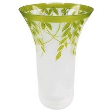 Art Glass Hand Painted Vase by Eisch Glaskultur Germany