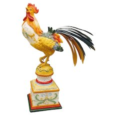 Vintage Fitz and Floyd Large Rooster Ricamo Figurine on Pedestal