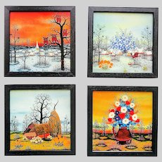 Original Manfred Horn Collection of 4 Paintings on Glass Seasons of Year circa 1982