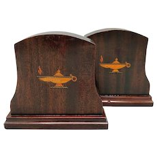 Inlaid Dark Wood Bookends Late Victorian
