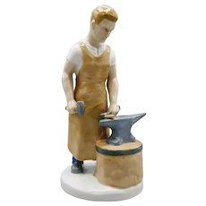Carl Schneider Erben Worker with Hammer Figurine Glazed Porcelain Circa 1950s Germany