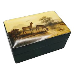 Russian Fedoskino Miniature Oil Painting Signed by Author Lacquerware Wood Box
