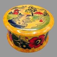 Russian Hand Carved Hand Painted Round Wooden Lidded Box Polkhov Maidansky Folk Art