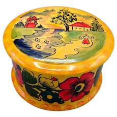 Russian Hand Carved Hand Painted Round Wooden Lidded Box Polkhov Maidansky Folk Art