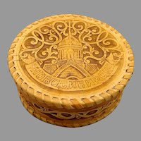 Russian Birch Bark and Leather Handmade Lidded Round Box featuring Novosibirsk