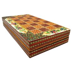 Persian Inlayed Khatam Chess and Backgammon Box Board Hand Painted Dimensional Miniatures