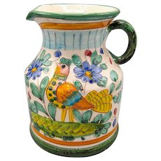 Italian Majolica Glazed Pottery Pitcher Jug Hand Painted Ceramic