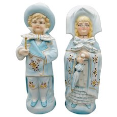 "German Bisque Pair of Large 12"" Figurines Children Dressed as Grandparents"
