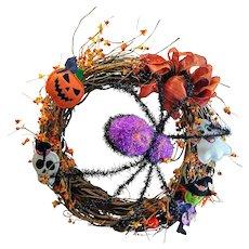 Wreath Artwork Vintage Seasonal Halloween Spider Autumn Fall Door Decor