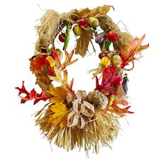 Wreath Artwork Vintage Seasonal Holiday Autumn Fall Door Decor