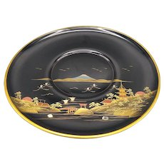 Japanese Black Lacquerware Hand Painted Wooden Plate