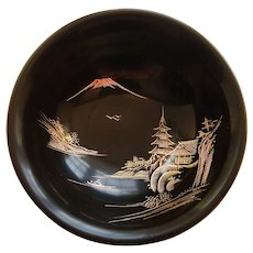 Japanese Black Lacquerware Hand Painted Small Wooden Dish Plate