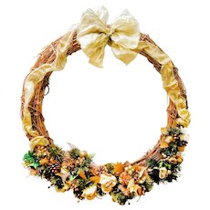 Large Vintage Holiday Wreath Art Golden Christmas