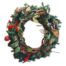 "Vintage Large 27"" Wreath Art Christmas Holiday Door Ornament Handmade Fruit Snow Effect"